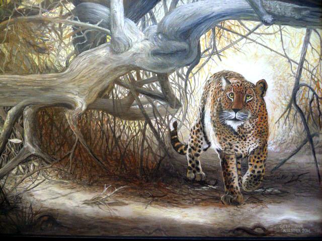 Olieverf luipaard 02